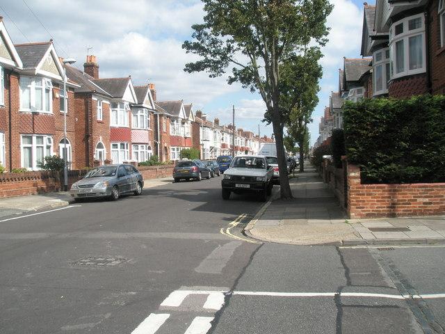 Looking eastwards from Randolph Road along Torrington Road