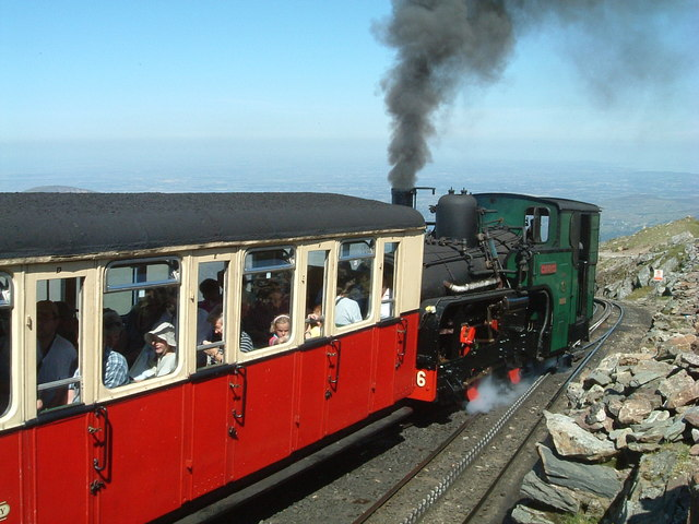 Enid departs from the summit of Snowdon