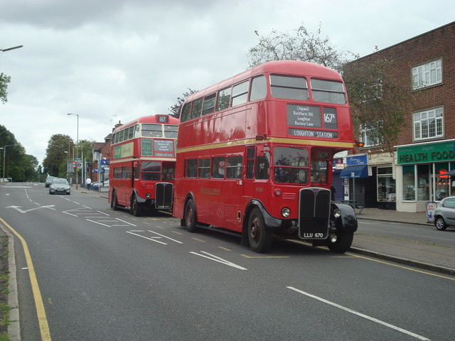 Two buses at Chigwell