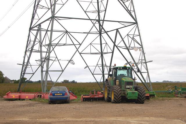 Parked under the pylon, Martins Farm