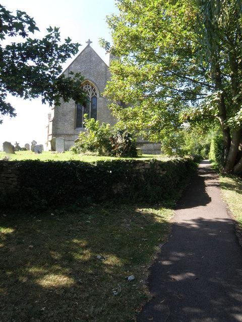 Footpath next to Bythorn Church