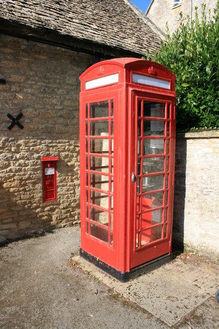 Kencot phone box and post box