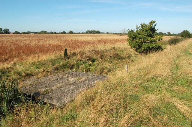 Plank bridge over Milholme Brook near Grandborough Fields