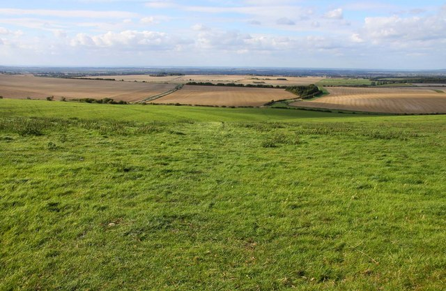 Looking over grassland towards Wantage