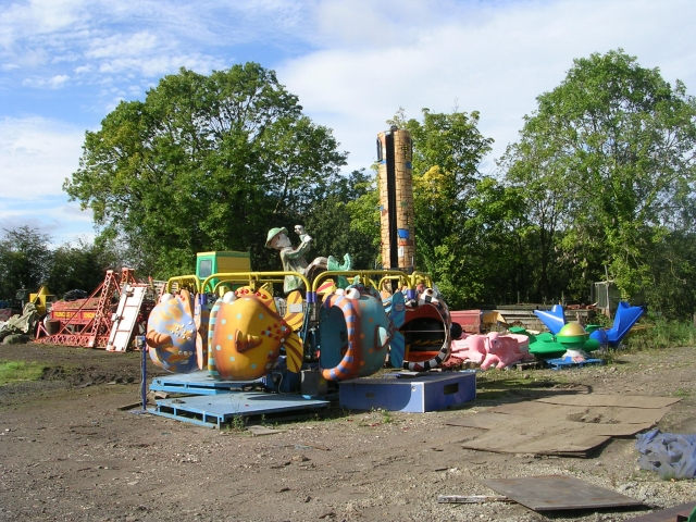 Fairground equipment awaiting repair at Rundle's