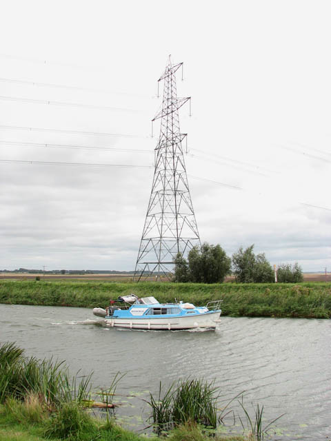 Electricity pylon by the River Great Ouse