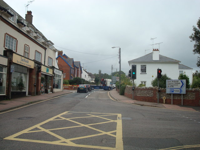 High Street junction with Station Road, Budleigh Salterton