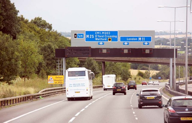 M11 approaching junction 6