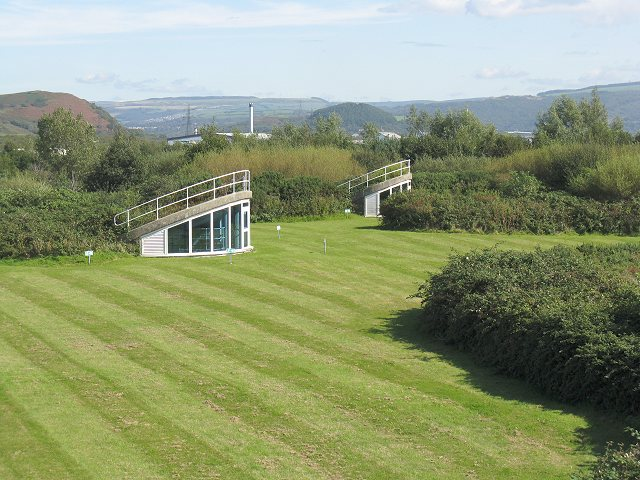 Landscaped roof of Welsh Water waste water treatment plant