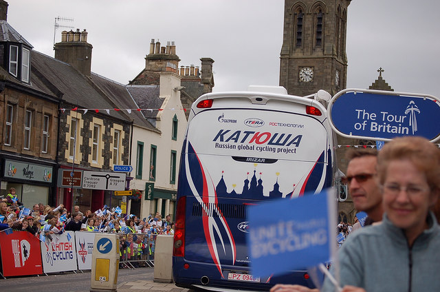 Russian bus in Peebles High St