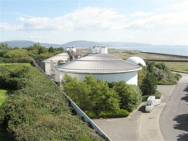 Digestion tanks at Welsh Water waste water treatment plant
