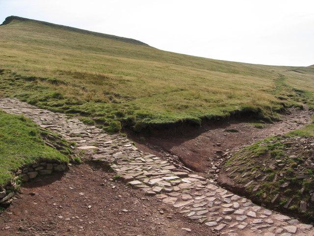 Paths cross below Corn Du