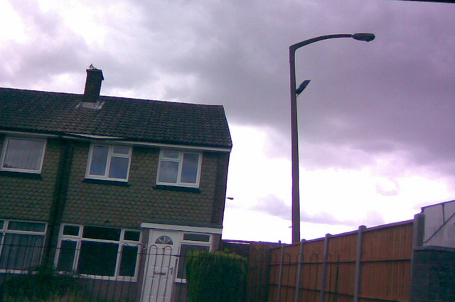 Leaning concrete lamp post in Newton Industrial Estate, Little Heath