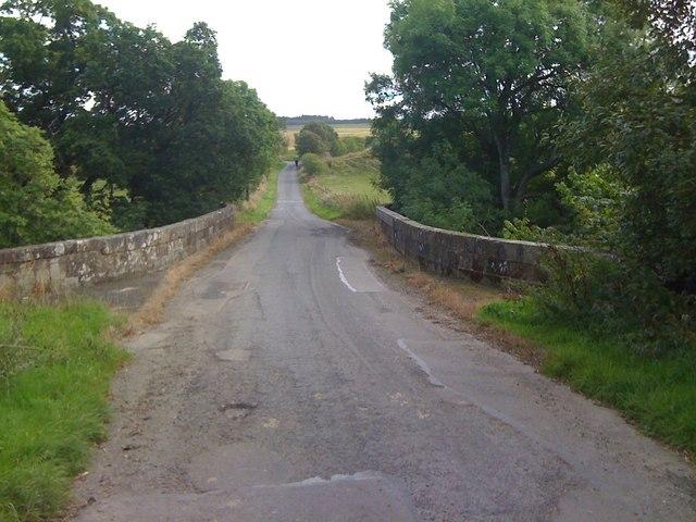 Road at the bridge over Kello Water