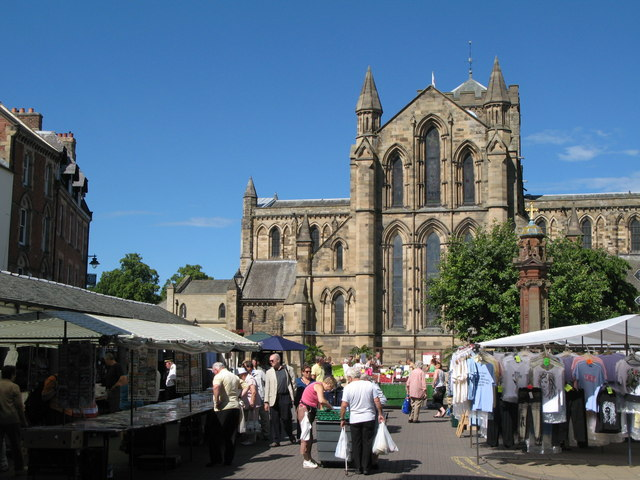 Hexham Market Place and Abbey