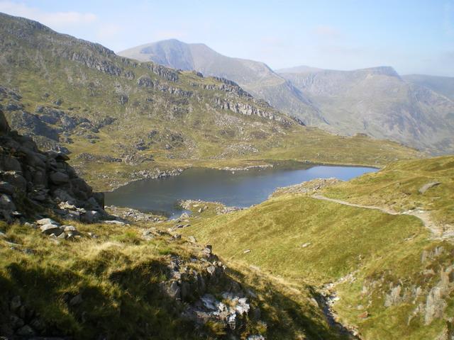 Cwm Bochlwyd from the path to Bwlch Tryfan