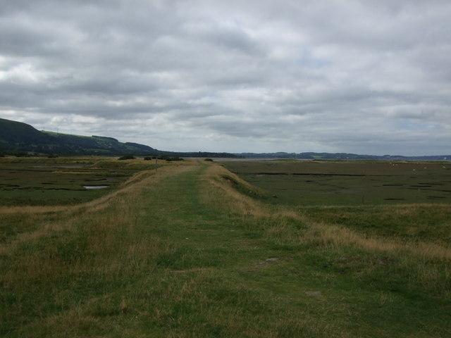 Path across Glan y Mor Elias Nature Reserve