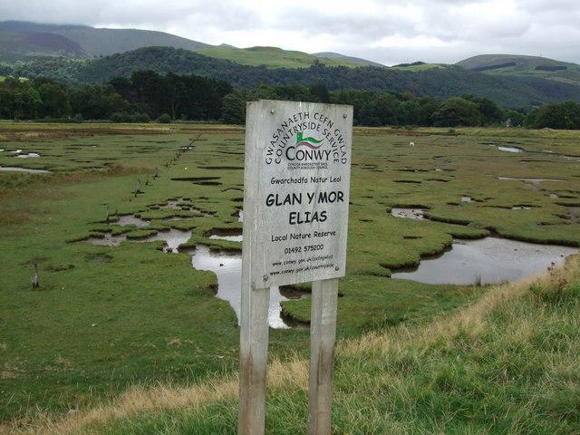 Signage at Glan y Mor Elias Nature Reserve