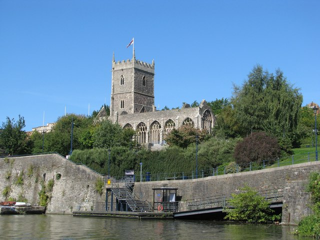 The church dominates the ferry landing stage