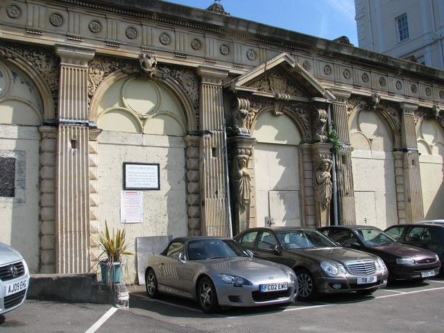 The disused ornate entrance to the upper station of the Clifton Rocks Railway