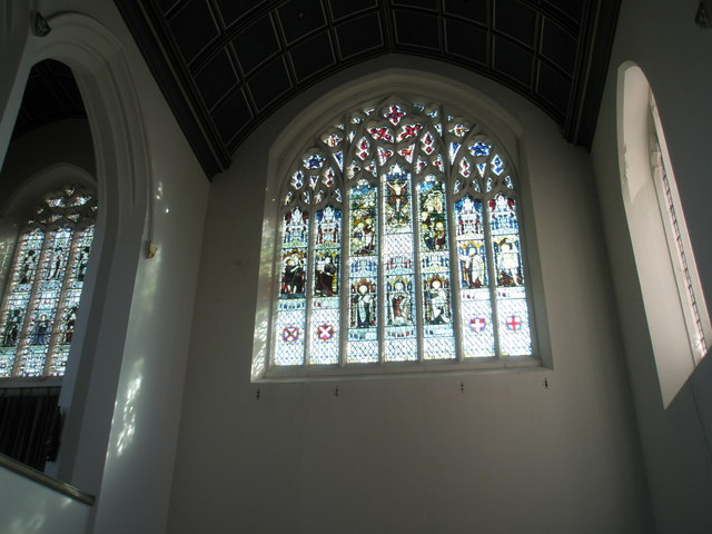 Stained glass windows on the east wall at Holy Spirit, Southsea