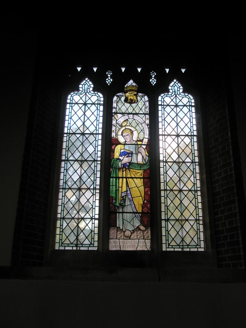 Stained glass window on the north wall at St James, Milton