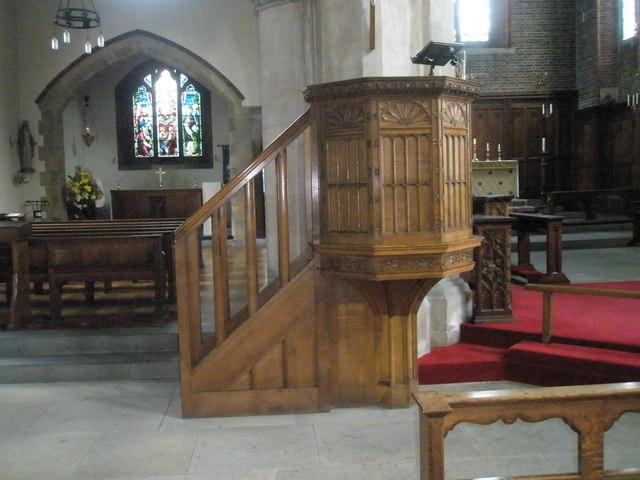 The pulpit at St James, Milton