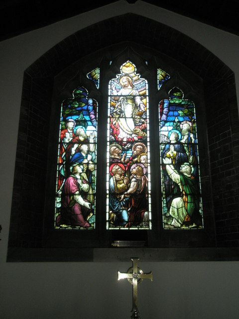 Stained glass window above the side altar at St James, Milton