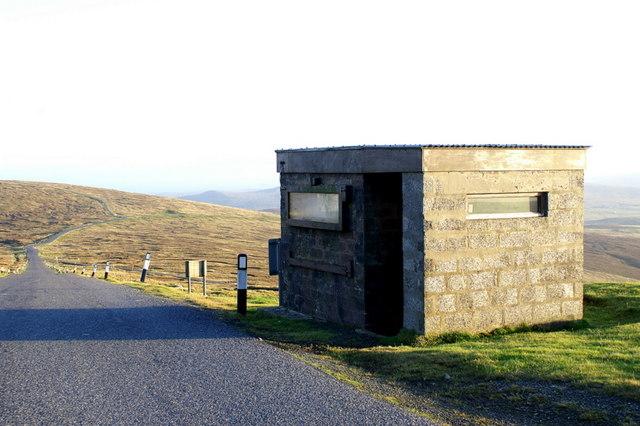 Guard hut at the entrance to RAF Saxa Vord