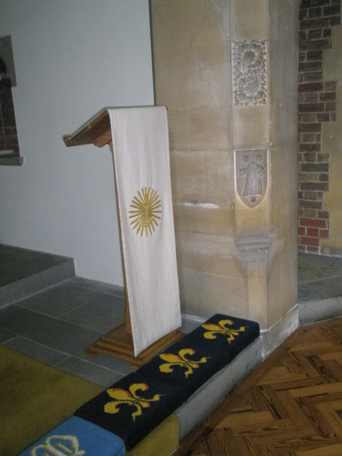 Lectern by the side altar at St James, Milton