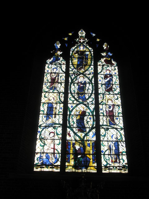 Stained glass window above the main altar at St James, Milton