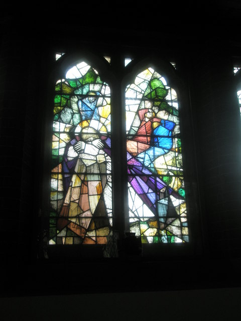 Stained glass window on the south wall at St James, Milton