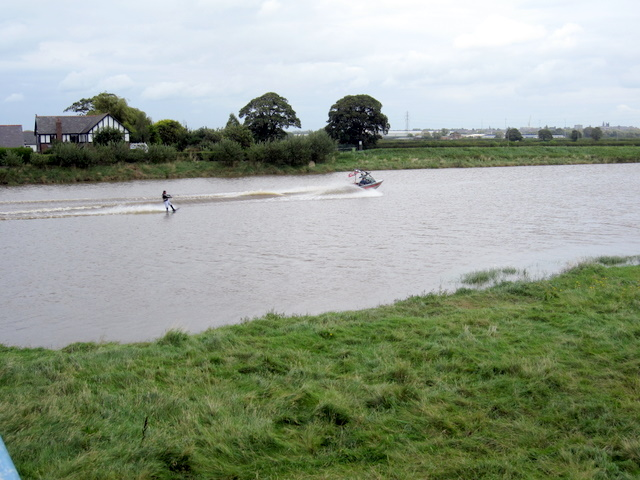 Water skiing on the River Dee at Saltney Ferry