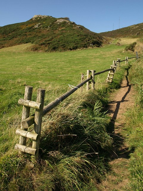 Fence by coast path above Great Mattiscombe Sand