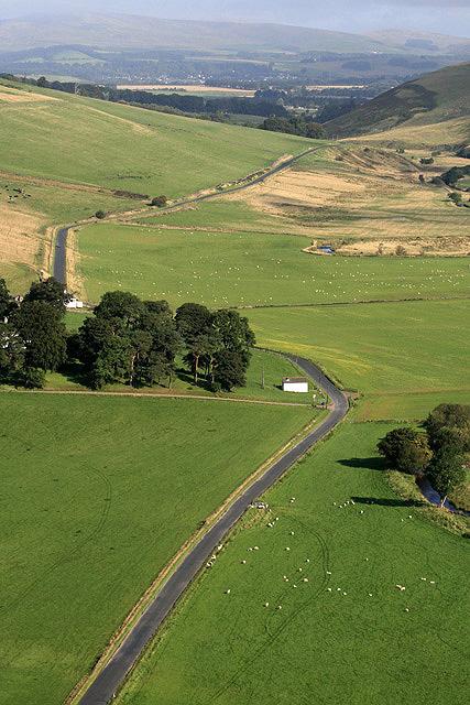 The B7059 by Drochil Castle Farm