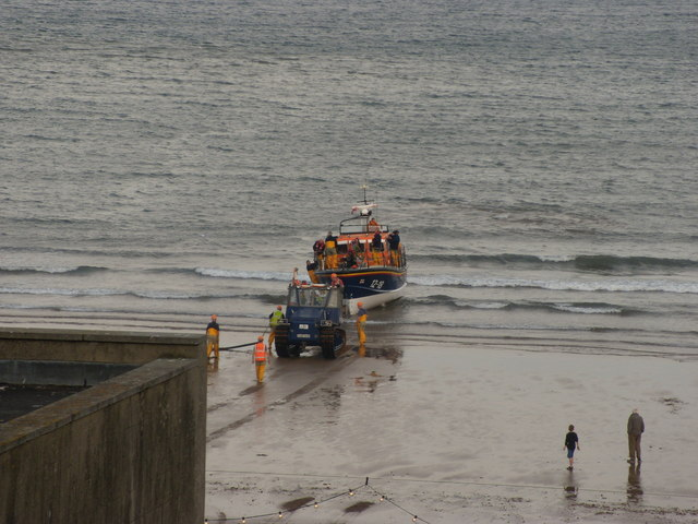 Scarborough's Lifeboat being towed up the south beach