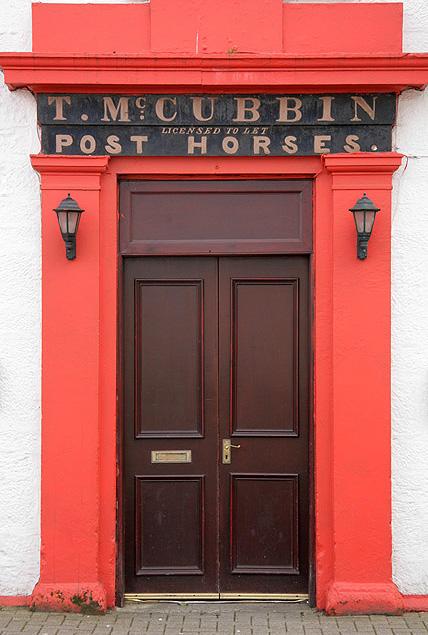 The Eglinton Hotel entrance doors in Dalmellington