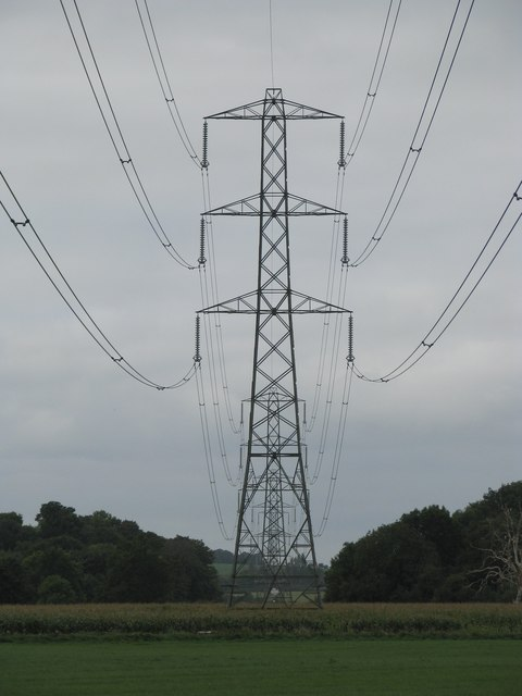Pylons cross the fields near Nynehead