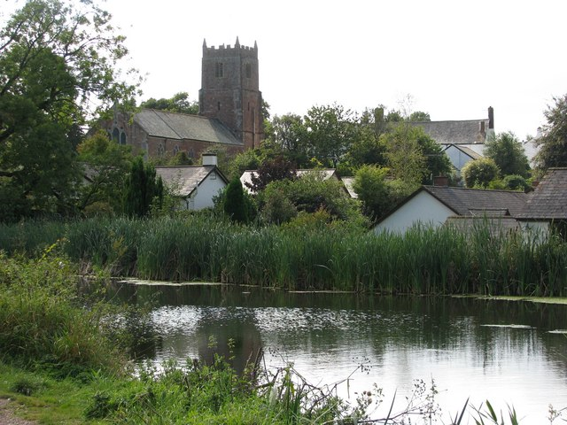The church at Sampford Peverell across the Grand Western Canal