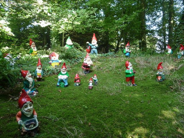 North Devon : The Gnome Reserve, Gnomes on the Hillside
