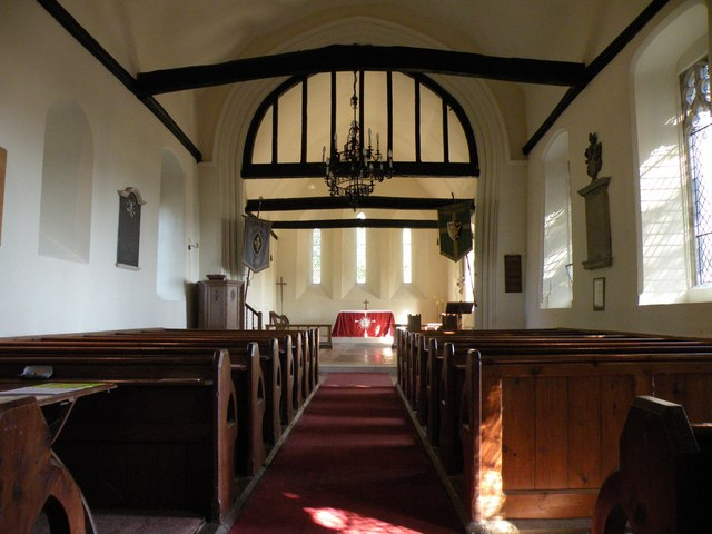 The interior of All Saints church, High Laver