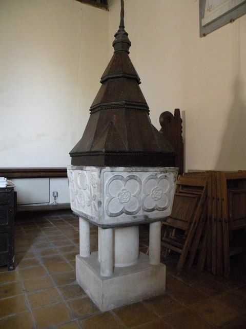 12th century font at Little Laver church
