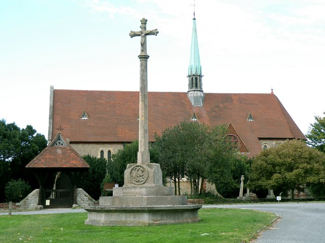 The War Memorial and St. Mary's church in Bayford