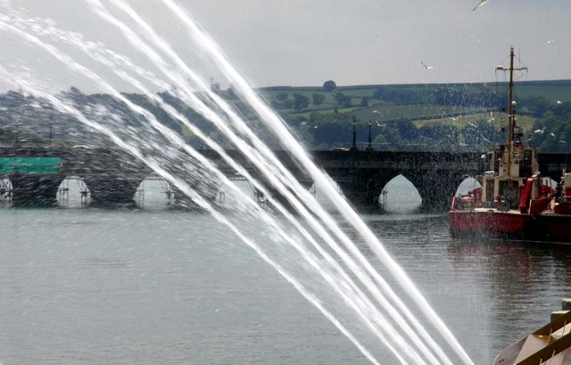 Bridge, boats and water feature in Bideford