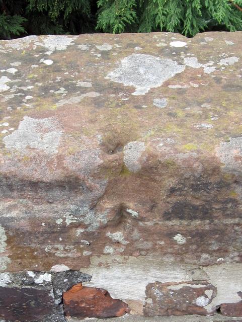 Damaged bench mark on Broughton railway bridge