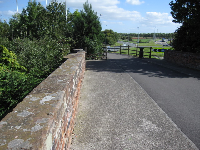 Broughton railway bridge and bridleway to the shopping park