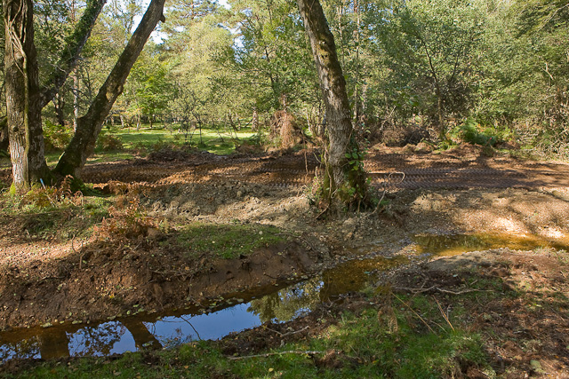 Warwickslade Cutting: the new stream flows