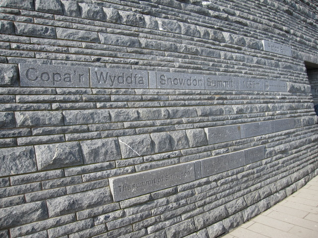 Inscriptions on Hafod Eryri on Yr Wyddfa - in the sun