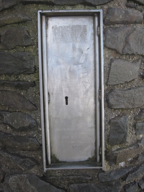 The door to the weather station on Yr Wyddfa summit