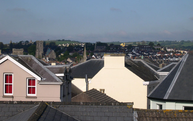 View  of Carmarthen from Shell Keep garden.